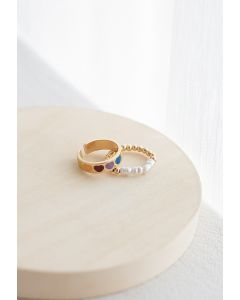 2-Pack Colorful Heart Beads Rings