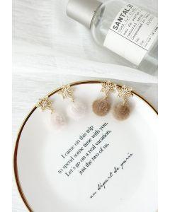 Fuzzy Ball Snowflake Earrings