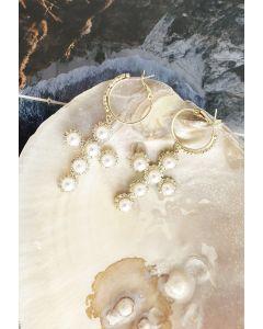 Pearl Trim Cross Drop Earrings