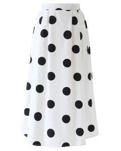 ポルカドット柄スカート ホワイト