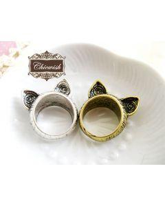 可愛い猫の耳リング指輪/二色選択可