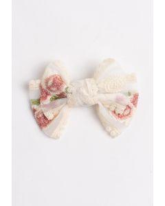 Embroidery Mesh Medium Bow Barrette