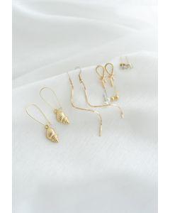 6 Pack Pearl Diamante Knot Hoop & Stud Earrings
