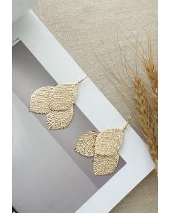 Triple Golden Leaves Earrings