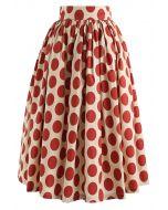レッドポルカドット柄スカート