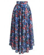 花柄非対称スカート