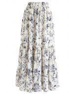 ネイビー花柄ラルフリルヘムマキシスカート