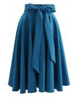 ボウノットウエストスカート ブルー