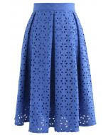 スノーフレークジャガードプリーツスカート ブルー