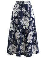 花柄ジャカードプリーツスカート ネイビー