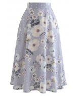 フラワープリントアイレット刺繍スカート