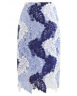 カラーブロックリーフクロッシェタイトスカート スカイブルー