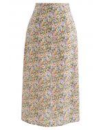 小花柄シフォンタイトスカート イエロー