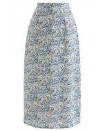 小花柄シフォンタイトスカート ブルー