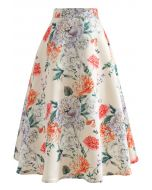 花柄プリントフレアスカート ボタン柄
