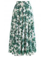 花柄ラッフルマキシスカート グリーン