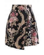 花柄ジャカードラップミニスカート