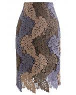 マルチカラー葉柄クロッシェレーススカート トープ