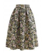 花柄エンボスプリーツスカート グリーン