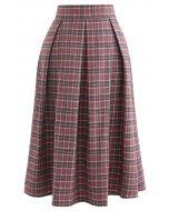 ウール混プリーツチェック柄スカート レッド