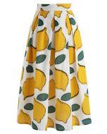 レモン柄Aラインスカート
